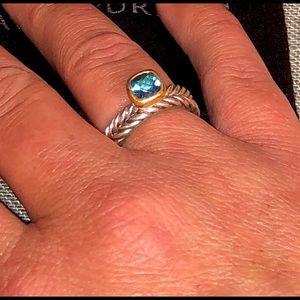 David Yurman Blue Hampton topaz 18k & 925 Ring